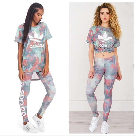733058fb8fd11 adidas Pants | Pastel Camouflage Leggings Matching Shirt | Poshmark